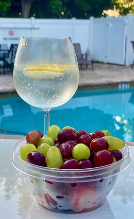 A brisk walk to Publix for some fresh fruit and lemon water to be enjoyed poolside.