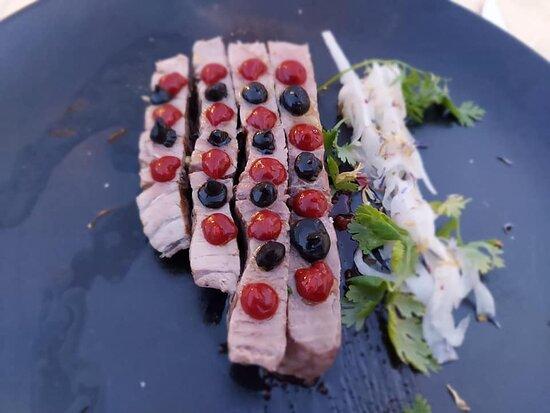 Tuna with blackened avocado paste, maple syrup etc.