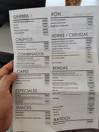 Carta de snacks y bebidas incluidas en el T.I.