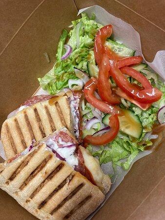 Italian ciabtta and salad
