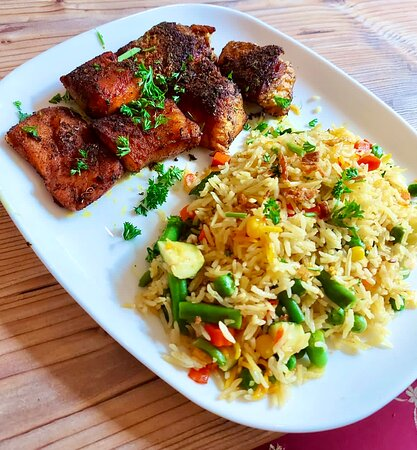 Fish Tikka Served with Flavoured Rice & Veges