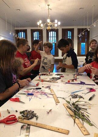 Kid's Summer Art Program - Making paper beads.