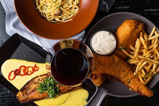 Truffled Linguine, Crispy Red Snapper, & Fish & Chips