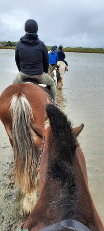 The family enjoying a lovely pony trek using Carrigart Horse riding. Highly recommended for a good family fun experience.