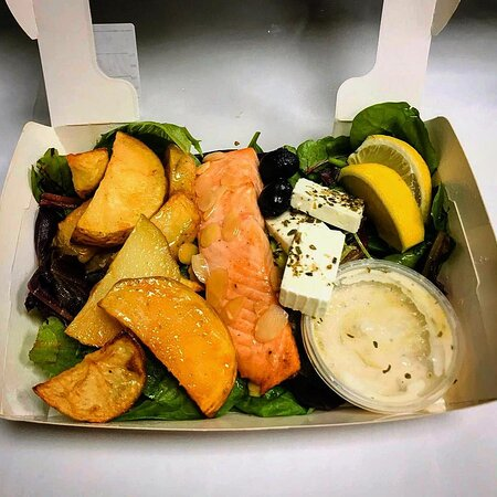 Salmon of the North Salad made to order at our Camden store