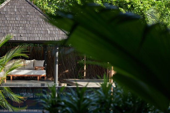 JA Manafaru - Three Bedroom Island Residence with Family Pool & Private Pool.  The outdoor sala lounge