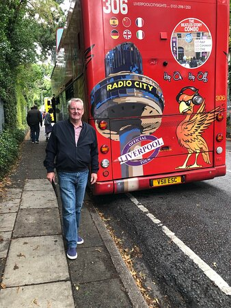 Liverpool City Sights Hop On Hop Off Open Top Multilingual City Tour: Our tour bus in Penny Lane ⭐️