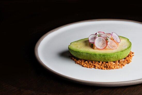 Scallop ceviche with avocado, radish and jalapeño