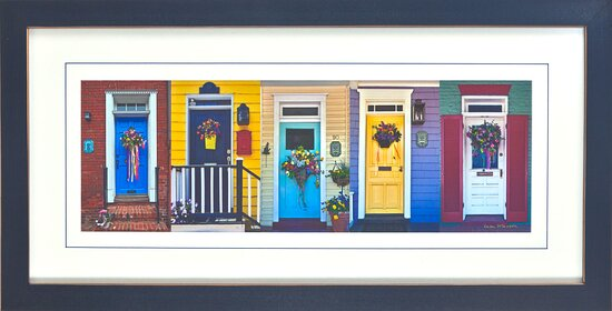 Colorful doors adorned with May Day Baskets in downtown Annapolis, Maryland. ©Lisa Masson