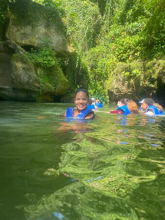 Arenales Caves and River Adventure in Puerto Rico: Lisa just floating around.
