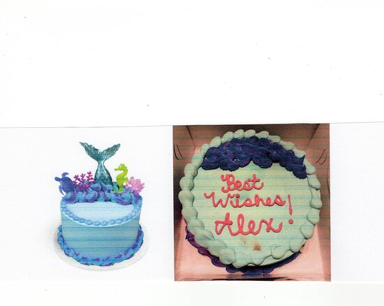 Supposed to represent a beautiful mermaid cake. Brown smudging and no toppers available. My birthday girl, deserved the cake I ordered. Disappointed with what we received. Never again!!! It's going on FaceBook, next.