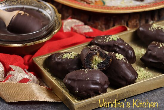 Rakshabandhan Special Sweets for brother Choco Coated Nutty Dates by Vandita's Kitchen