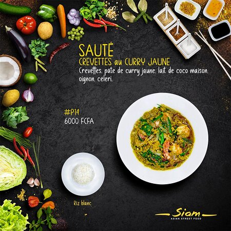 Sauté Crevettes curry jaune