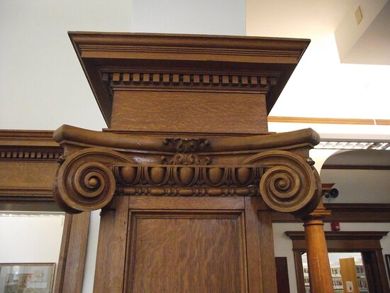 NH - ROCHESTER - LIBRARY - 2ND FLOOR - BERRIO ROOM - CLOSE-UP OF OAK WOODWORK