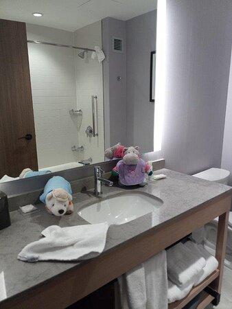 Clean, well stocked bathroom.