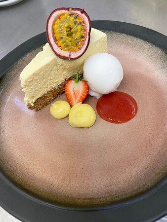 Passion fruit martini cheesecake