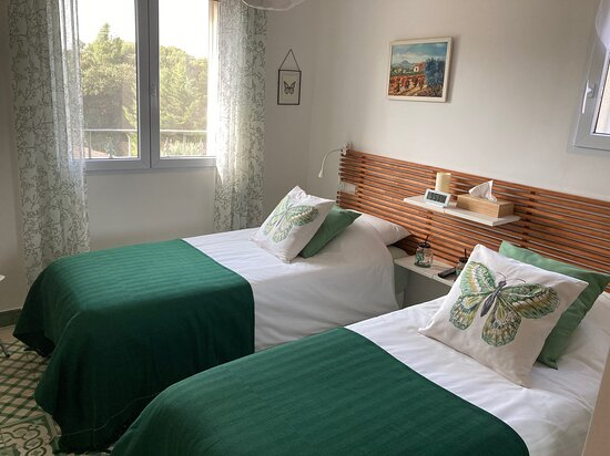 Chambre Alpilles (2 twin beds or 1 King bed) It's located on the first floor of the house and has a separate but individual bathroom.