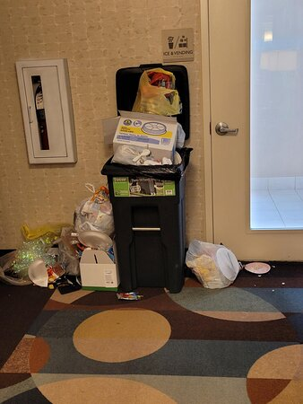 Garbage piled up at elevator for two days.