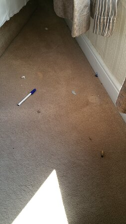 Dirty , cigarette dimps, rizla papers , dust side of bed. Hadn't been cleaned in months. Room 204 upstairs.