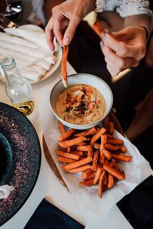 Vegan hummus, sweet potatoes