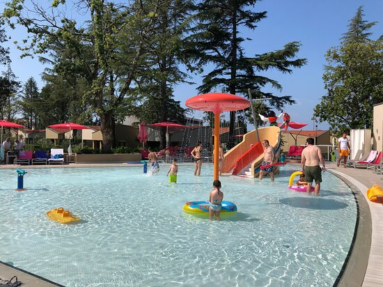 one pool cca 30cm deep, this one was cca 50cm deep. both with slides for kids around 2 - 4 years