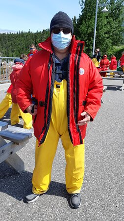All dressed up with rubber pants and life jacket
