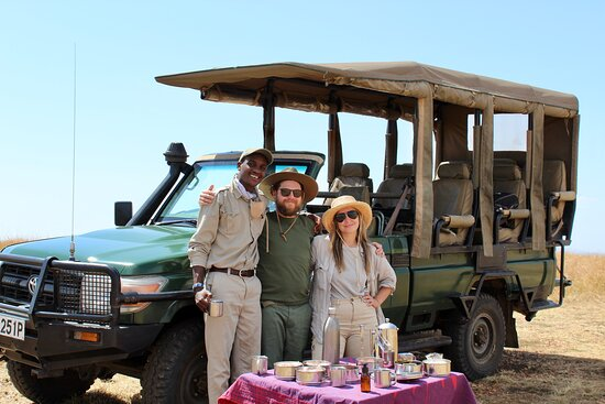 on a game drive with Stephen. He set up a mid day happy hour for us.