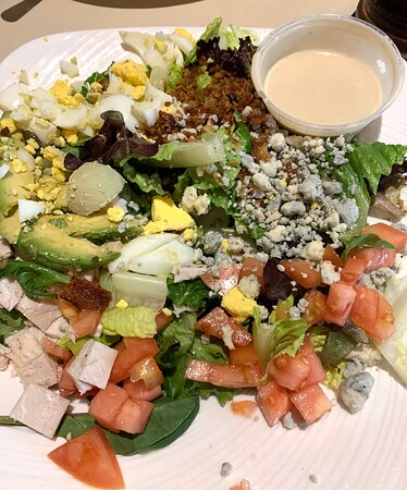 Cobb Salad - (romaine, baby greens, turkey, tomato, egg, avocado, bacon blue cheese) - looked a lot prettier before I messed it up! - $14.95
