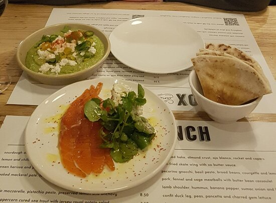 Hummus and trout