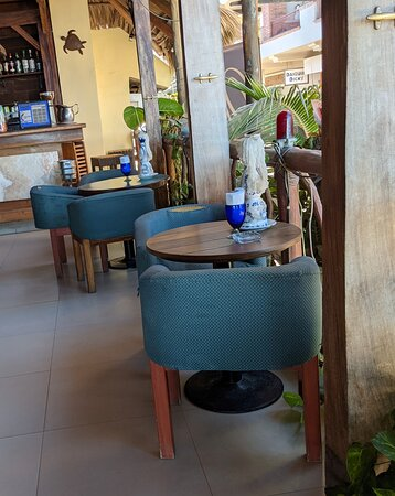 Comfortable bar area chairs at The Blue Shrimp Restaurant.