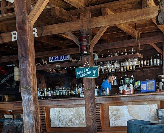 The bar at The Blue Shrimp Restaurant.