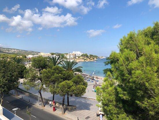View from the upper garden sun deck of Palma Nova beach