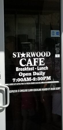 Starwood Cafe is located in Rayzor Ranch on 380 University Drive Denton Tx. Serves breakfast and lunch.