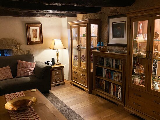 The snug cabinets and books.