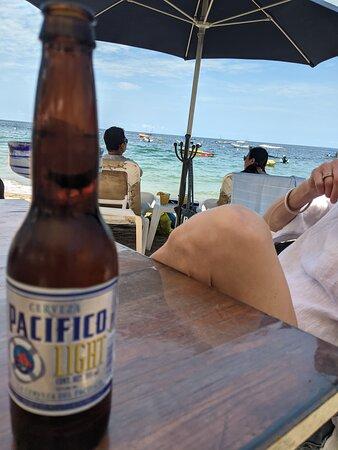 A light beer on   Si Señor Beach Restaurants beach.