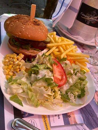 Unappetizing hamburger French fries and salad