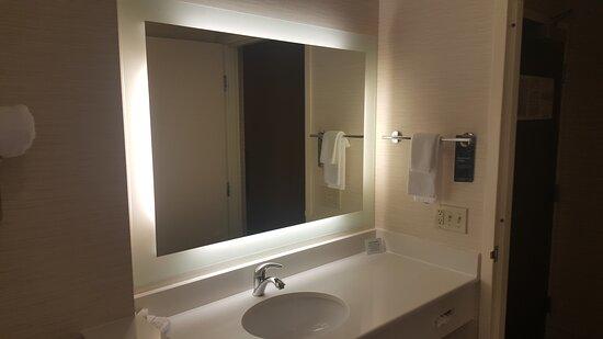 backlit mirror in bathroom