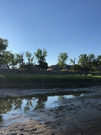 The view of the walk-in sites from down on the Little Missouri River.