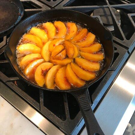 Gluten free upside down peach and almond cake.