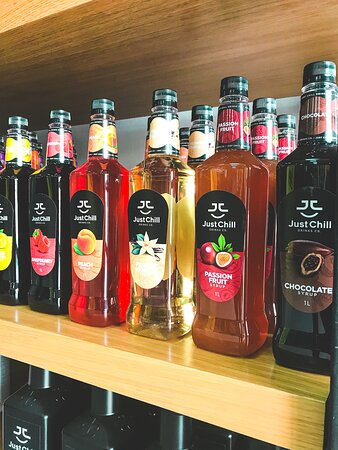 We have fruit syrups for your cocktails too! 🍹🍸🍑🍒🍓🍋