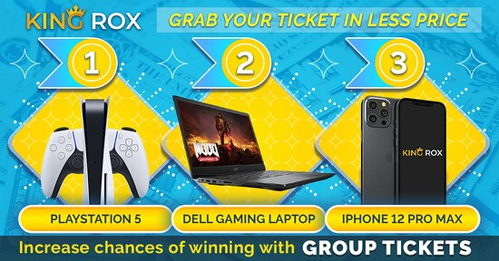 Buy a Bracelet for a chance to win an #iPhone12ProMax , #DellLaptop G5-5500 & #playstation5  Make it yours before its too late Entry charge: $5  Tip: Focus on Group Ticket Sign up on this luckiest link to get #discount : https://www.kingrox.com/signup?ref=A13CF1C828