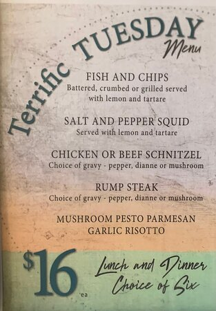 A sample of the daily specials on offer…