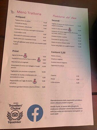 Carta del menu