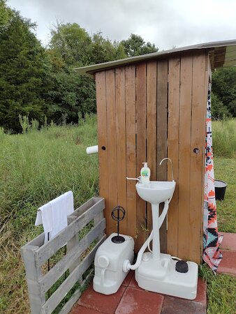 Lewisburg, TN: Private toilet & sink just a few steps from the tipi