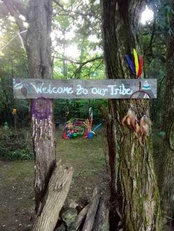 Lewisburg, TN: One of the entrances into the woods that leads to a large shaded hang out area with seating, tables and hammocks