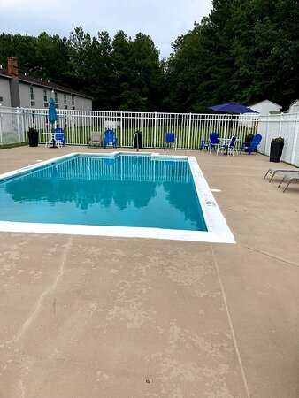 Pool and deck are clean.