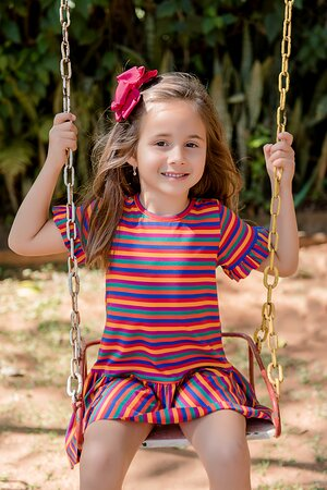Vestido Infantil Menina Listrado Colors