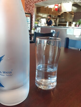 Filtered Kangen water served chilled with a spotless glass