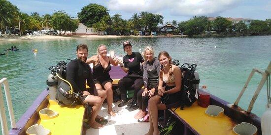 having fun in between dives