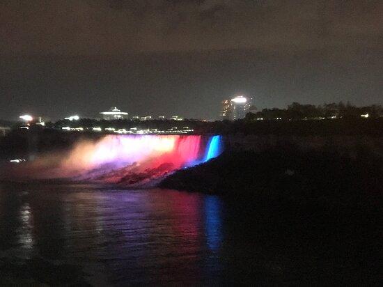 American Falls and Bridal Veil Falls at night